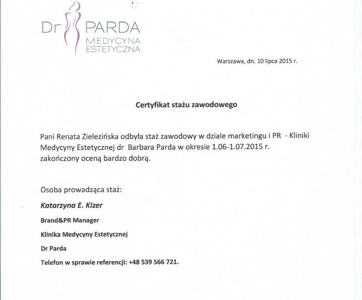 Certyfikat ukończenia stażu w dziale marketingu kliniki Medycyny Estetycznej dr Parda