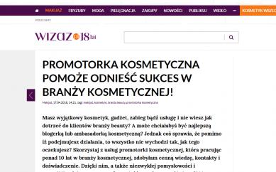 Promotorka kosmetyczna – publikacja na wizaz.pl