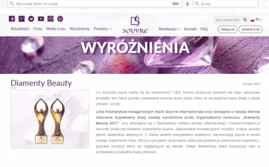 Informacja o Diamentach Beauty 2017 na stronie Souvre
