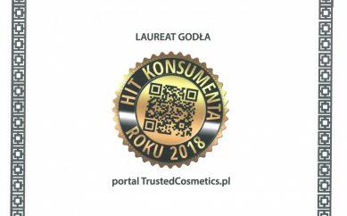 TrustedCosmetics.pl nagrodzone Godłem Hit Konsumenta Roku 2018
